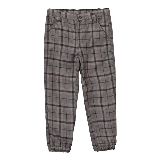 Hust&Claire Plaid Twill Trousers WOOL GREY