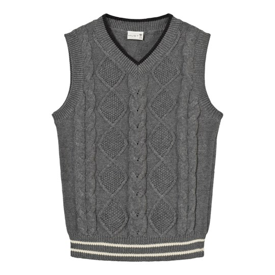 Hust&Claire Vest Cable Knit Grey WOOL GREY
