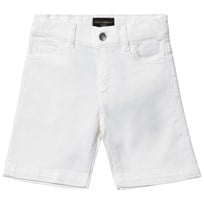 Dolce & Gabbana White Twill Shorts with Musical Note Applique W0001