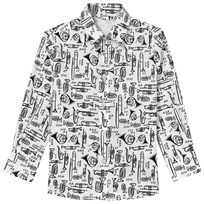 Dolce & Gabbana White Scribble Musical Instrument Shirt HW607