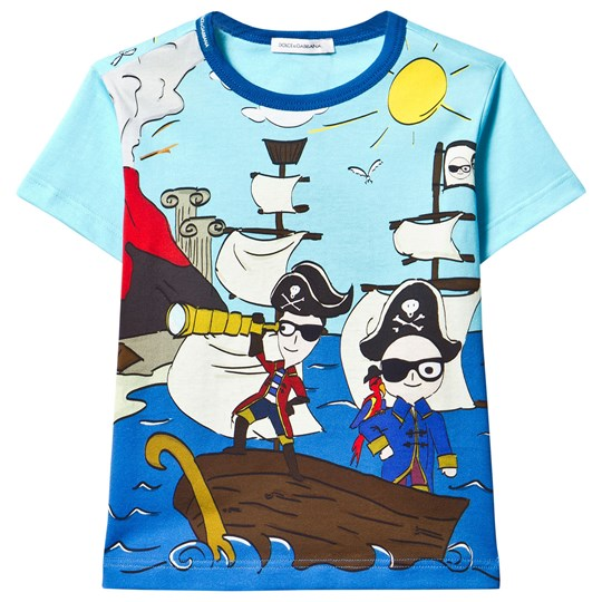 Dolce & Gabbana Blue Pirate Cartoon Print Tee HB625