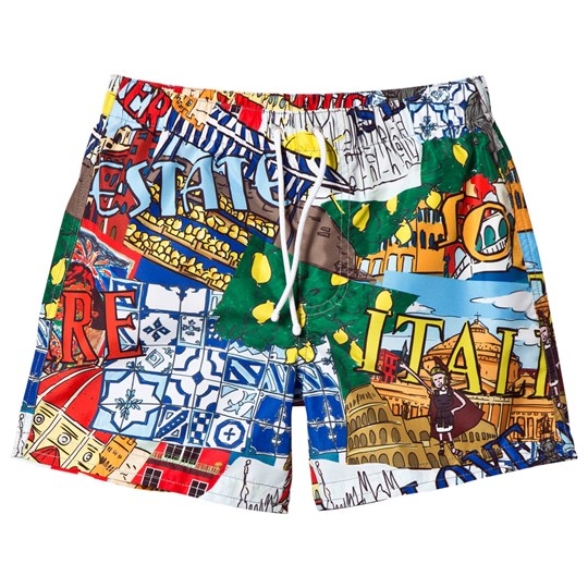 Dolce & Gabbana Multi Italy Print Swim Shorts HD667