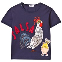 Dolce & Gabbana Navy Cockerel Salsa Applique Tee (Chinese New Year) HZ689