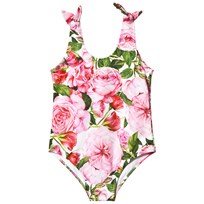 Dolce & Gabbana Pink Rose Print Swimsuit with Bow Detail HW412