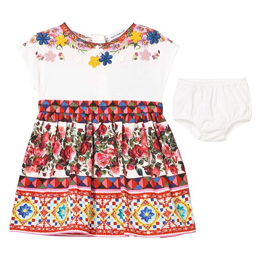 Dolce & Gabbana Multi Majolica Jersey Top and Woven Dress and Bloomers HW680