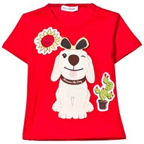 Dolce & Gabbana Red Mimmo Applique Tee with Flap Sunglasses HR933