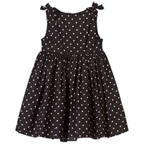 Dolce & Gabbana Black Spot Cotton Dress with Bow Shoulder Detail X0801