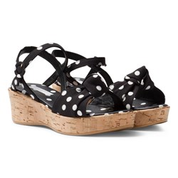 Dolce & Gabbana Black and White Spot Cork Wedge Sandal