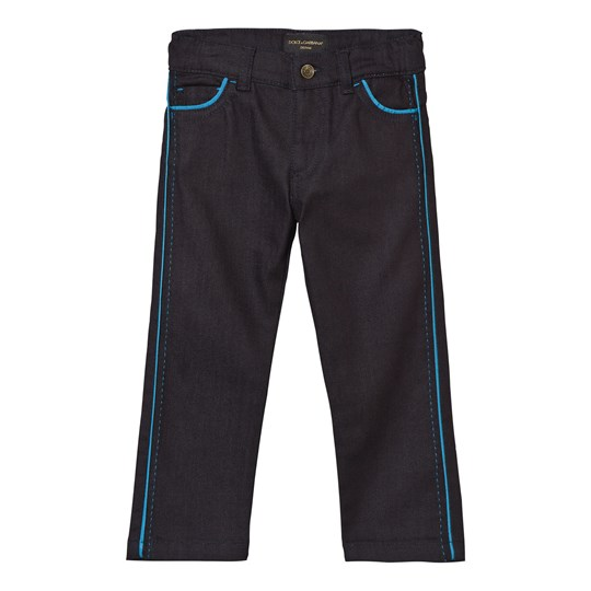 Dolce & Gabbana Dark Wash Jeans with Blue Piping Detail S9001