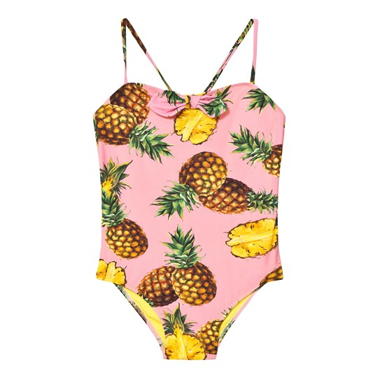 Dolce & Gabbana Pink Pinapple Print Bow Swimsuit HF716