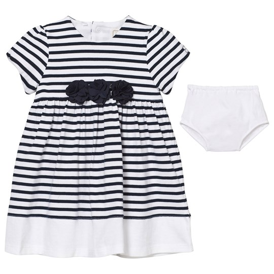 Emile et Rose Kiki White and Navy Stripe Dress with Knickers Marinblå