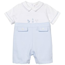 Emile et Rose Pale Blue and White Keenan Romper