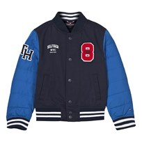 Tommy Hilfiger Navy and Blue Varsity Jacket with Puffa Sleeves 431