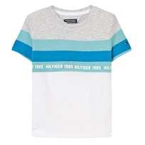 Tommy Hilfiger White and Blue Stripe Tee 023