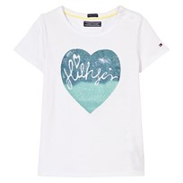 Tommy Hilfiger White Heart Print Tee 100