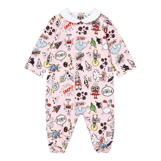 Fendi Pink Monster Print Footed Baby Body F0B8Y