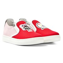 Fendi Red Mesh Monster Slip Ons F05Z6