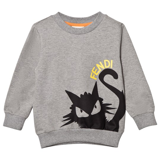 Fendi Grey Branded Cat Print Sweatshirt F0WG5