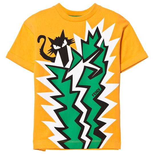 Fendi Orange Cat and Cactus Print Tee F0EU5