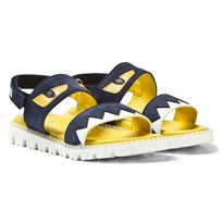 Fendi Navy Denim Monster Sandals F0QA2