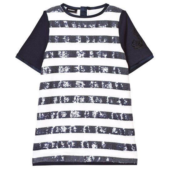 Diesel Navy and White Sequin Jersey Dress K80A