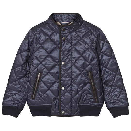 Burberry Navy Quilted Puffer Bomber Jacket Ink Blue