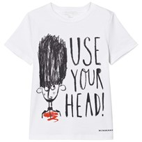Burberry Use Your Head Graphic Cotton T-Shirt Marinblå White