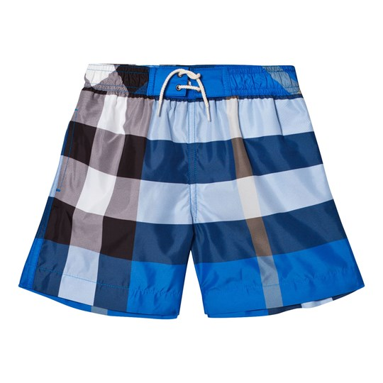 c7acb34a3fbb6 Burberry - Bright Blue Check Swim Shorts - Babyshop.com