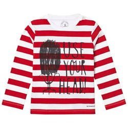 Burberry Long-sleeved Use Your Head Graphic Cotton T-Shirt Parade Red