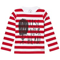 Burberry Long-sleeved Use Your Head Graphic Cotton T-Shirt Parade Red Parade Red