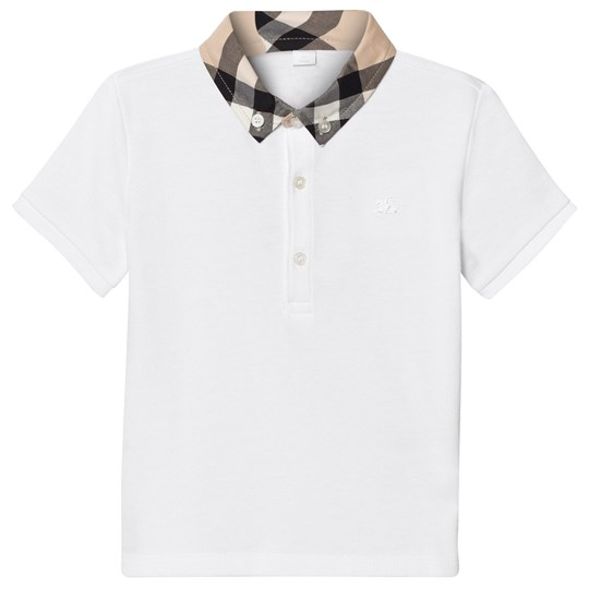 Burberry Check Collar Pikétröja Vit White