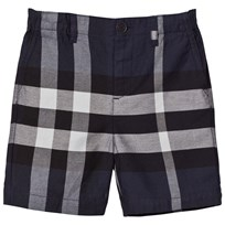 Burberry Navy Check Cotton Shorts Navy