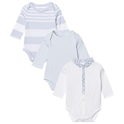 Burberry Patterned Cotton Blend Three-piece Baby Gift Set Ice Blue