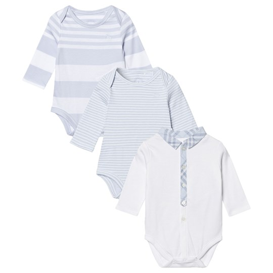 Burberry Patterned Cotton Blend Three-piece Baby Gift Set Ice Blue Pink