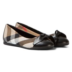 Burberry Leather and House Check Ballerinas Black