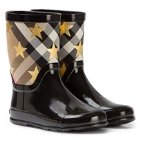 Burberry Black Star Print House Check Rain Boots Black