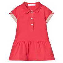 Burberry Coral Pique Polo Dress Check Turn Ups Coral Red