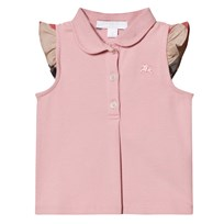 Burberry Pale Pink Polo Frill Check Sleeves Ash Rose