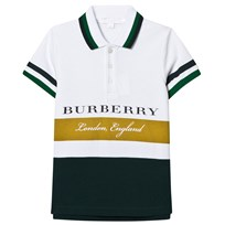 Burberry White Green Stripe Branded Polo LARCH YELLOW