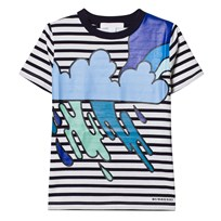 Burberry Navy and White Stripe Cloud Applique Tee Navy/White