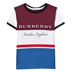 Burberry Burgundy Blue Branded Tee
