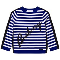Burberry Blue Stripe Applique and Branded Jumper Brilliant Blue
