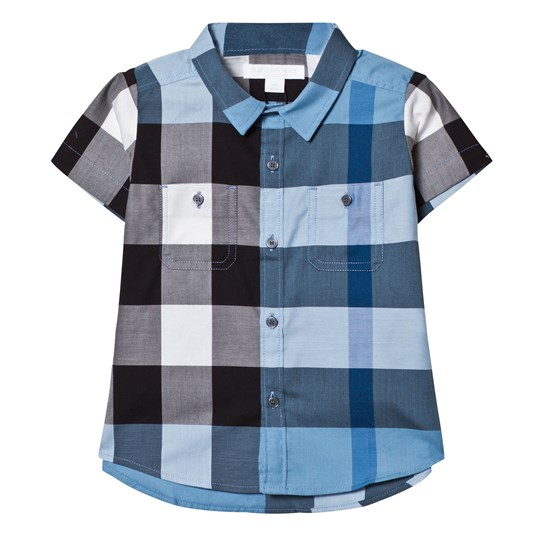 Burberry Pale Blue Check Short Sleeve Shirt Pale Blue
