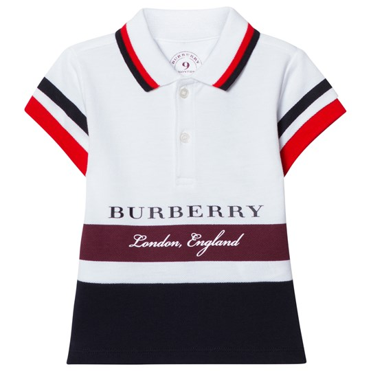 Burberry White and Burgundy Stripe Branded Polo CLARET
