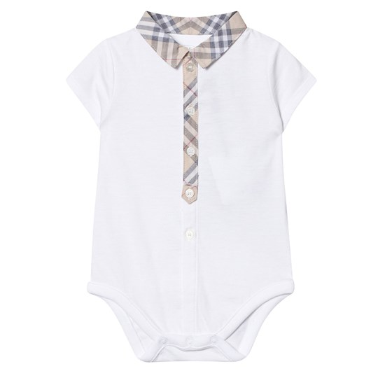 Burberry White Body Classic Check Placket Collar White