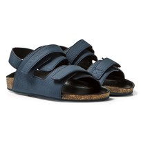 Burberry Cork Sole Leather Sandals Dark Mineral Blue DARK MINERAL BLUE