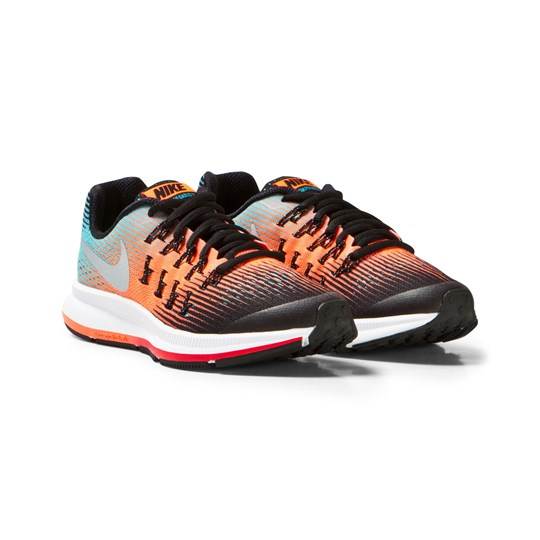 NIKE Zoom Pegasus 33 Junior Trainers Blå/Orange BLACK/METALLIC SILVER-HYPER ORANGE