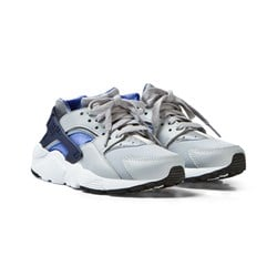 NIKE Grey and Blue Huarache Run Junior Trainers