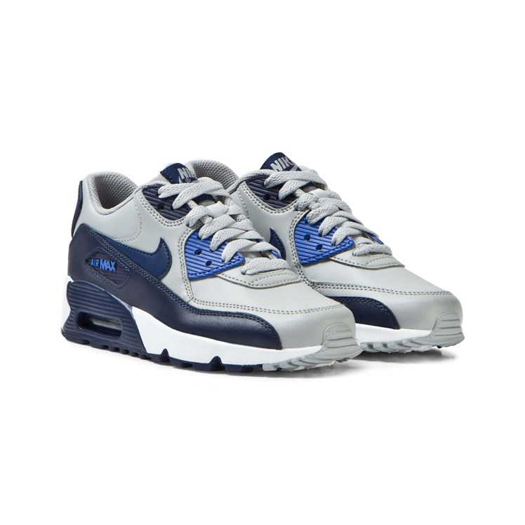 NIKE Grey and Blue Air Max 90 Leather Junior Trainers