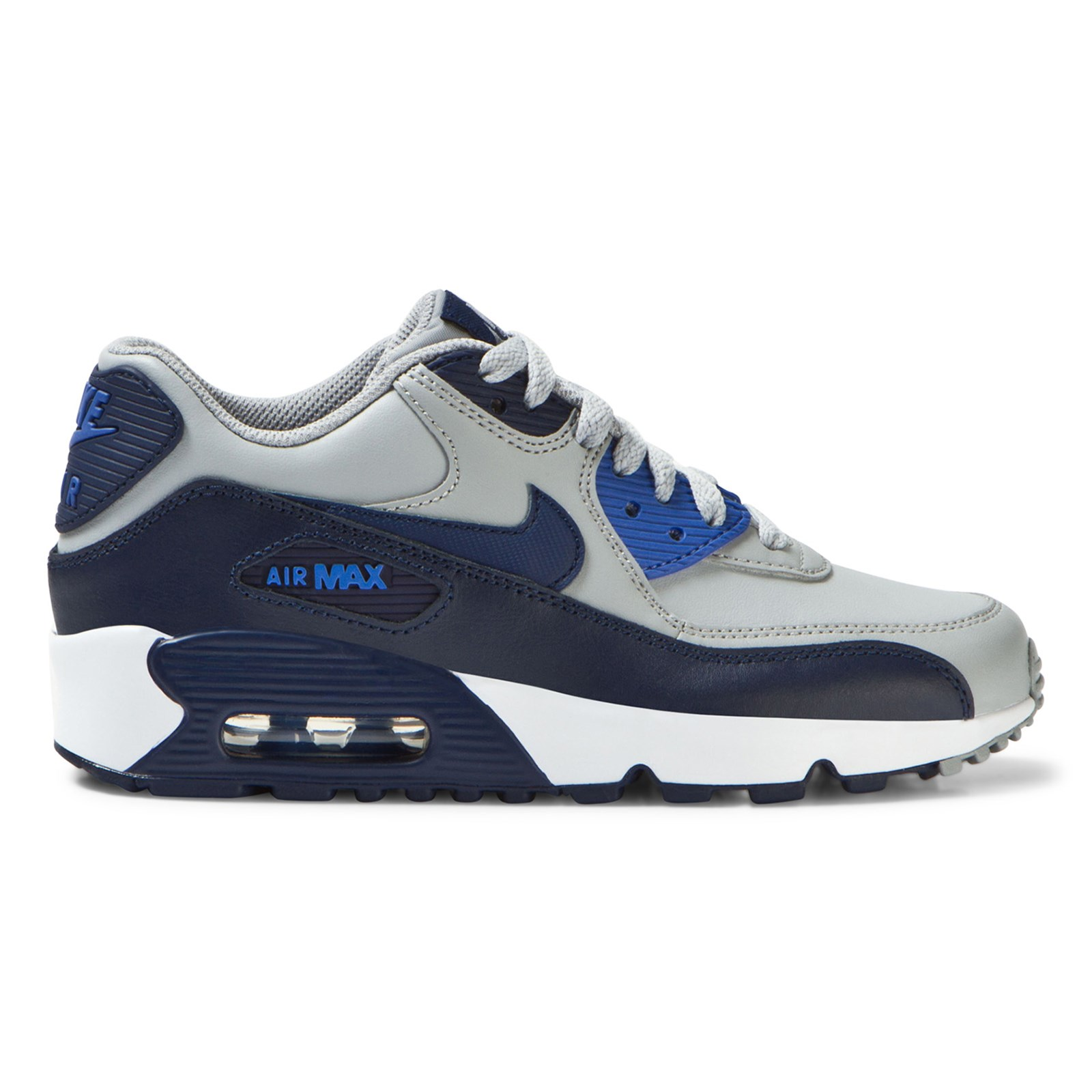 NIKE - Grey and Blue Air Max 90 Leather Junior Trainers - Babyshop.com